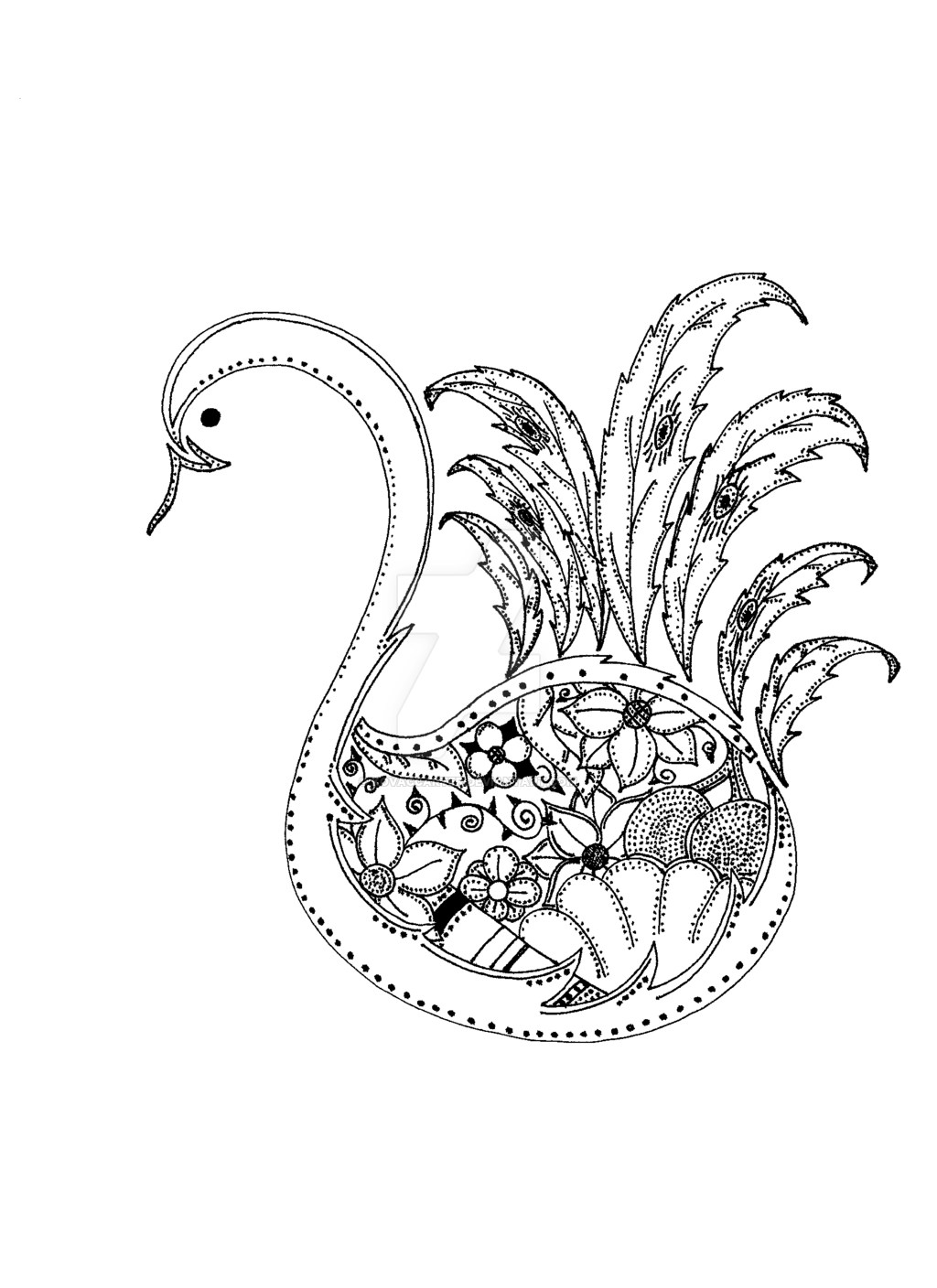 1024x1408 Peacock Line Drawing By Kovaccarter