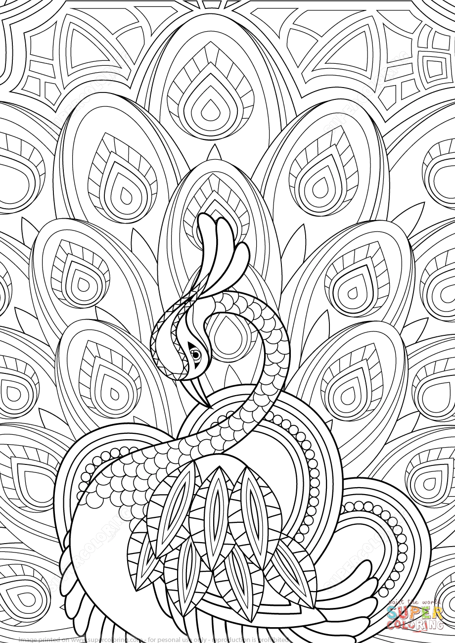 920x1300 Zentangle Peacock With Ornament Coloring Page Free Printable