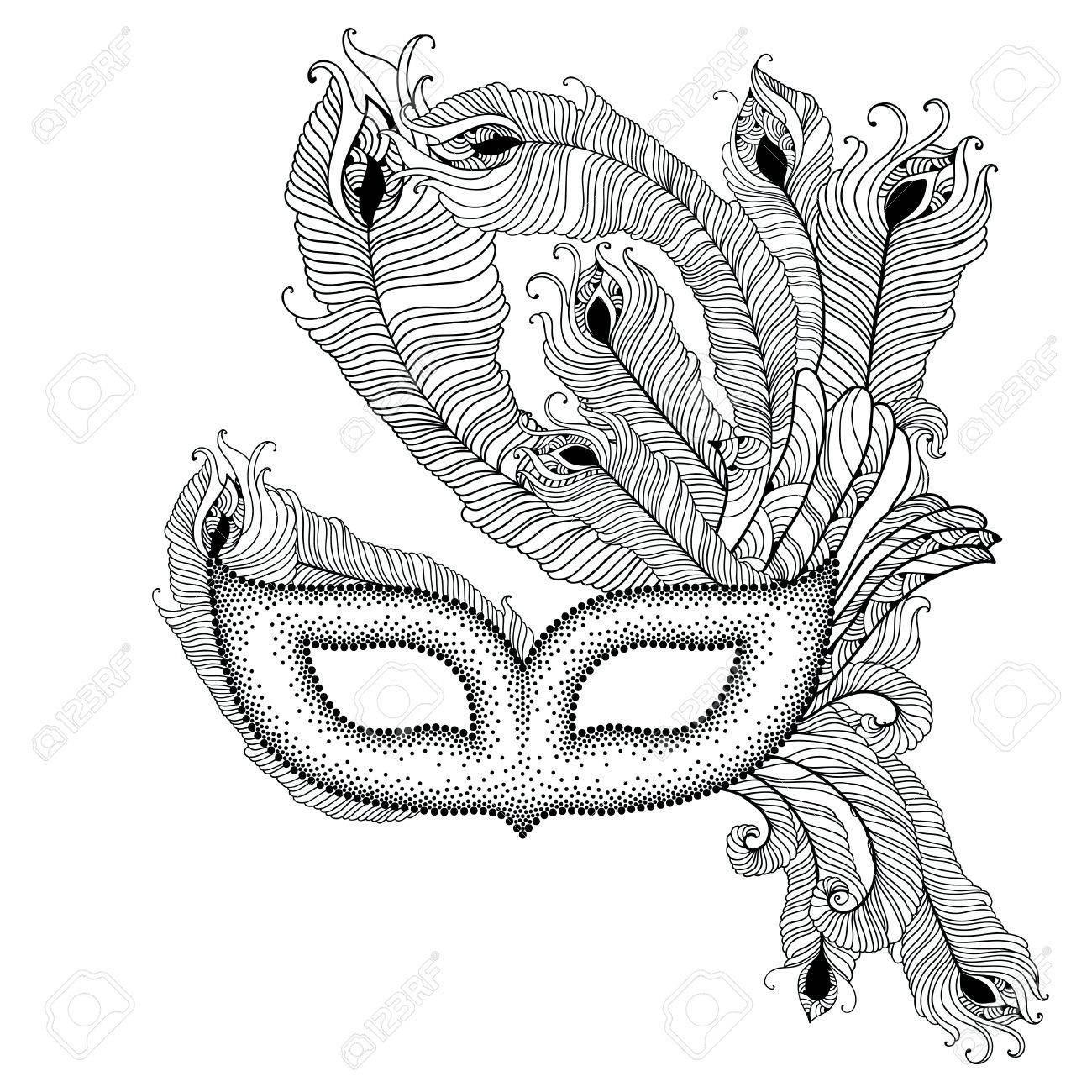 1300x1300 Dotted Venetian Carnival Mask Colombina With Outline Peacock