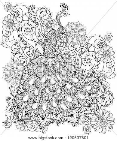 389x470 Vector Illustration Of The Firebird. Peacock Poster Id120637601