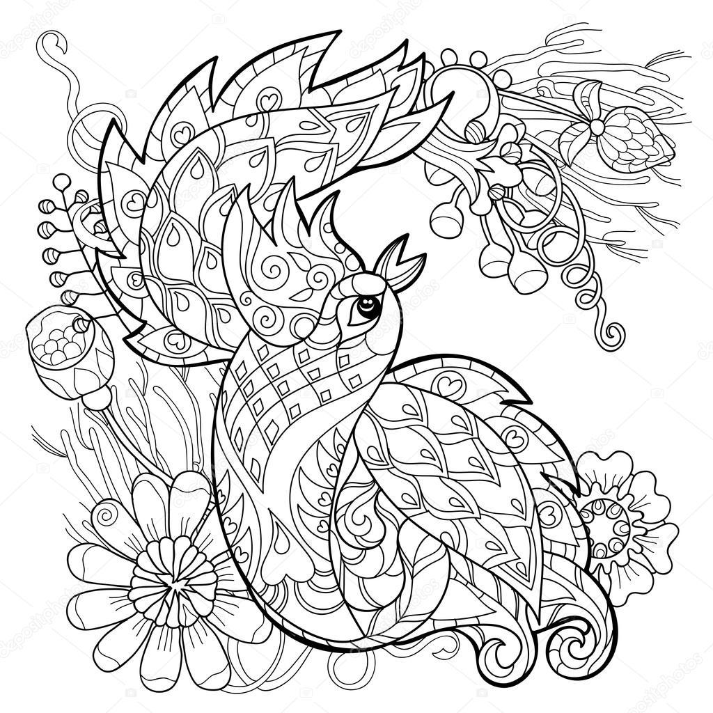 1024x1024 Vector Illustration Of The Firebird. Peacock Stock Vector