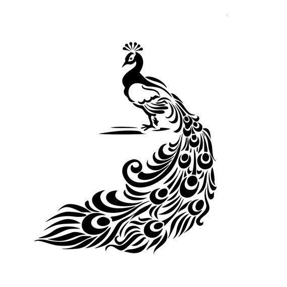 570x570 Vintage Peacock Feather Stencil Decal Wood Sign Wall Decor