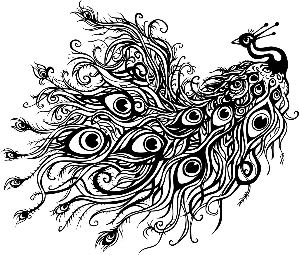 1024x874 Peacock Drawing Tattoo With Color
