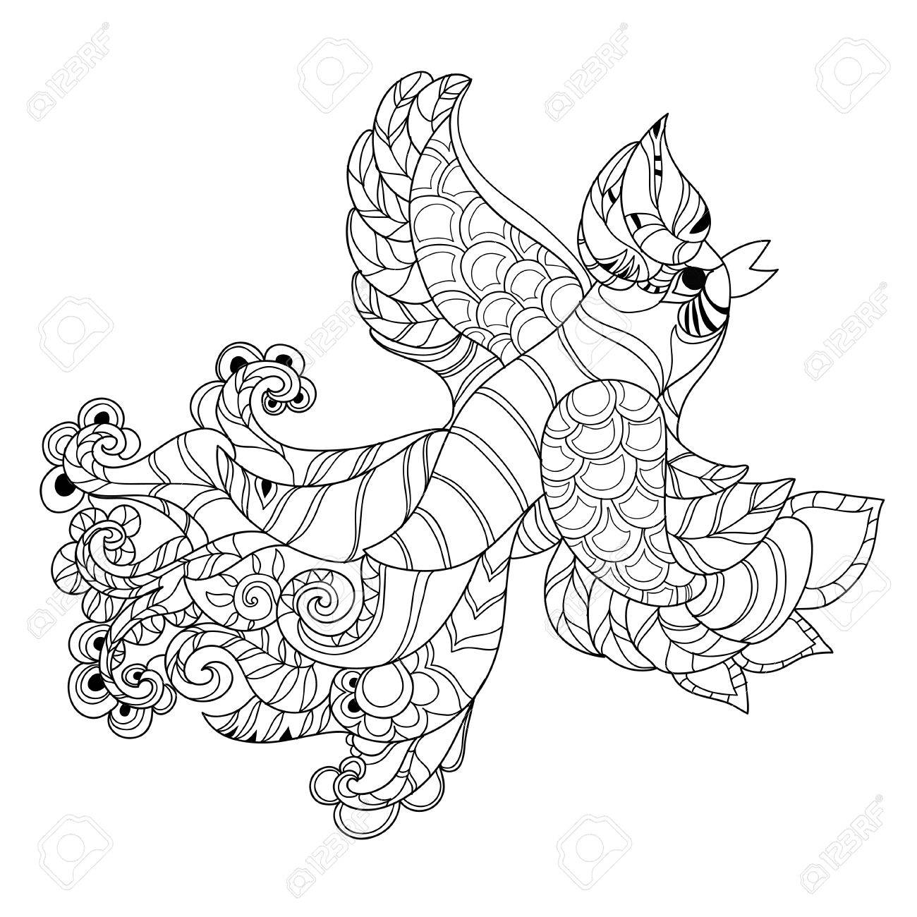 1300x1300 Zentangle Stylized Peacock Hand Drawn Vector Illustration. Sketch