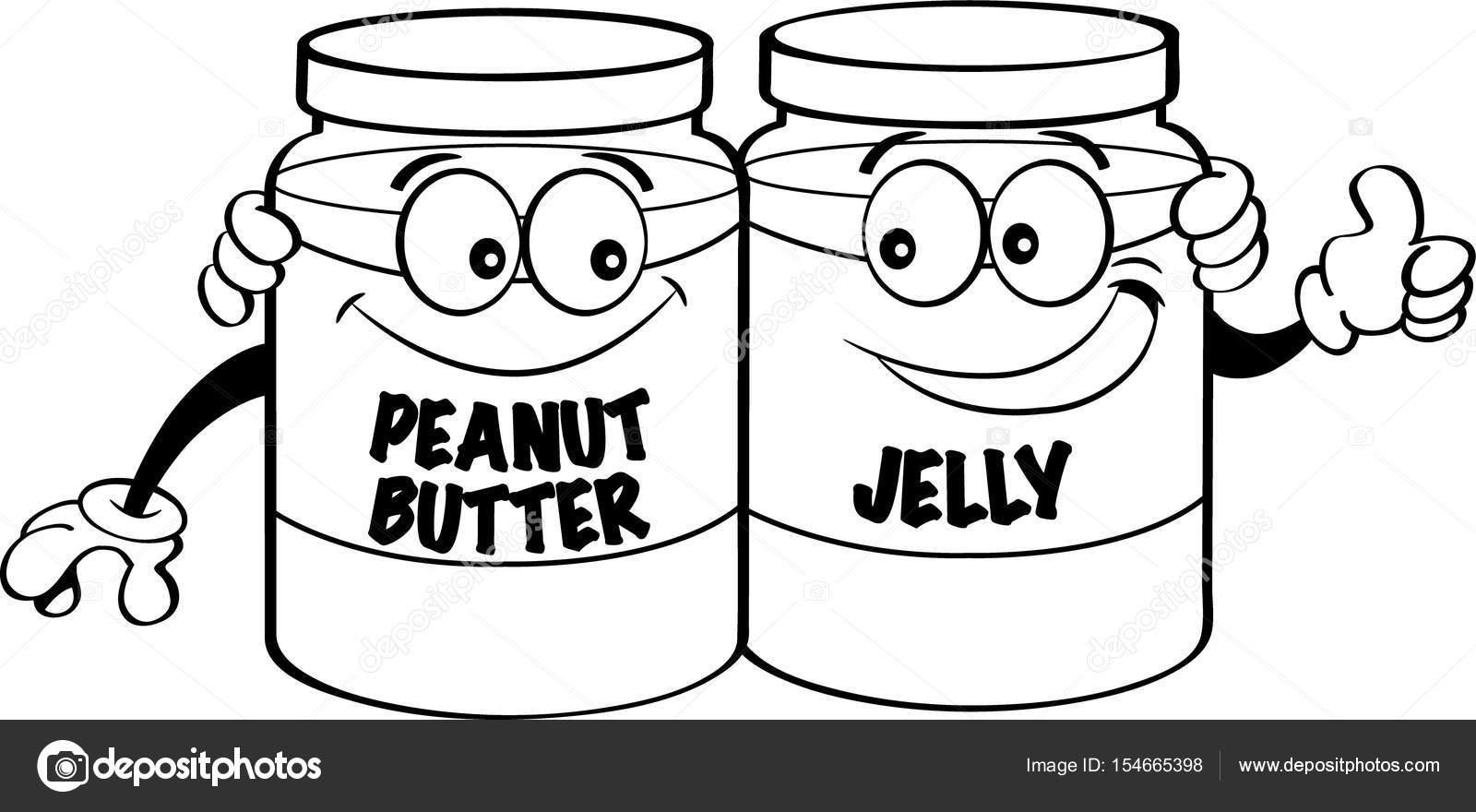 1600x880 Cartoon Illustration Of Peanut Butter And Jelly Jars. Stock