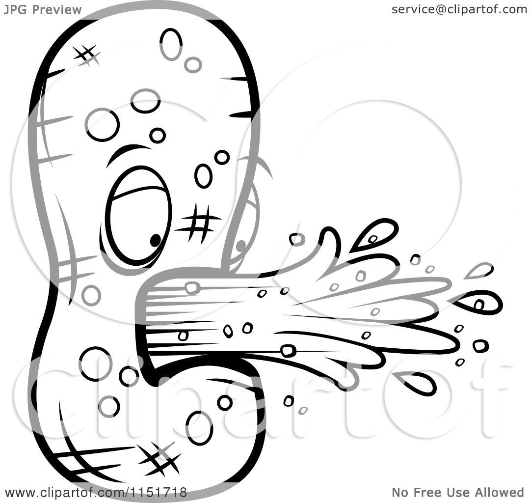 1080x1024 Cartoon Clipart Of A Black And White Peanut Character Puking