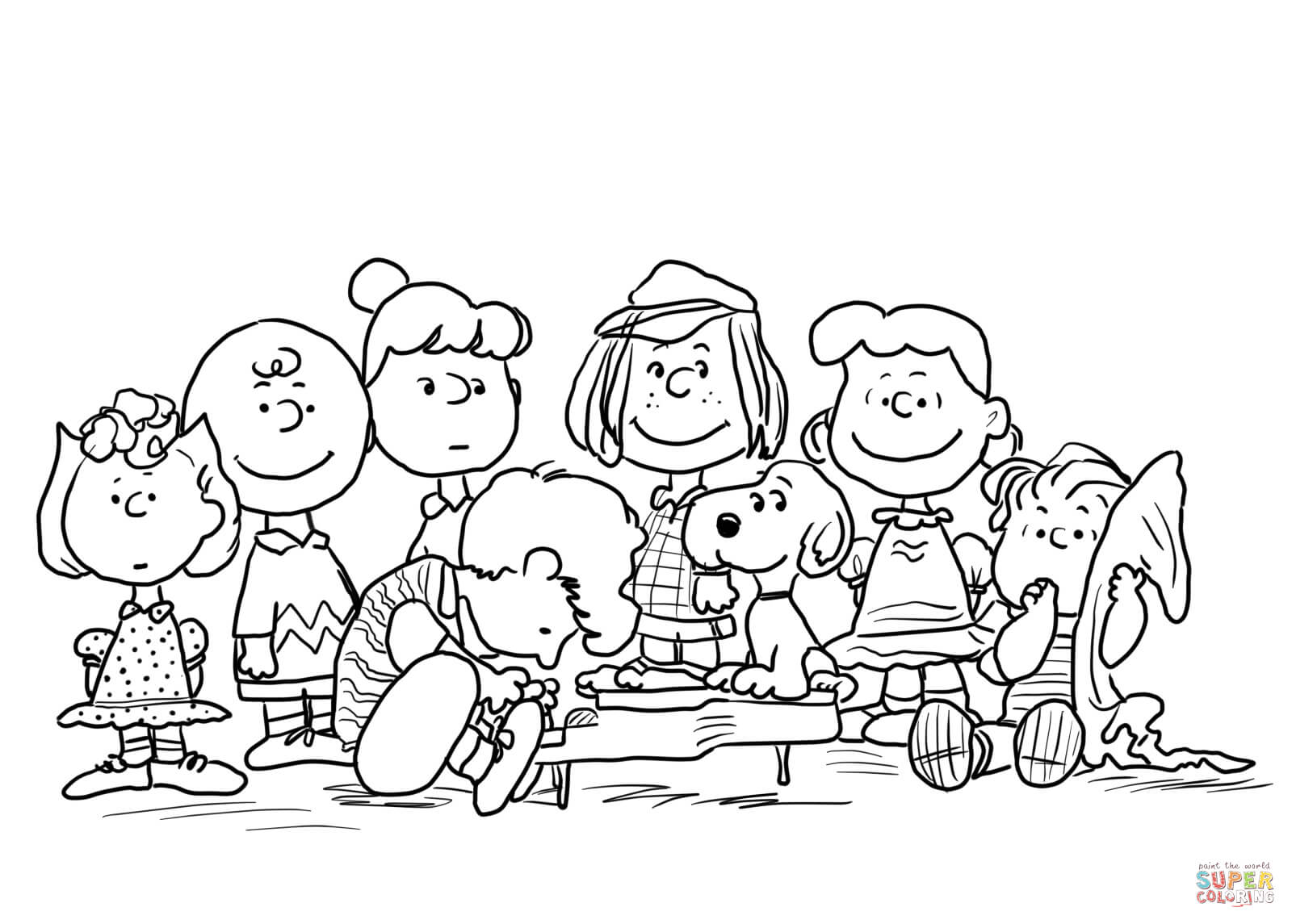 1600x1145 Peanuts Characters Coloring Page Free Printable Coloring Pages