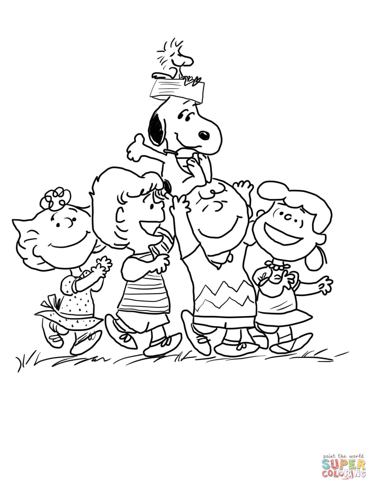 1226x1600 Peanuts Gang Coloring Page Free Printable Pages