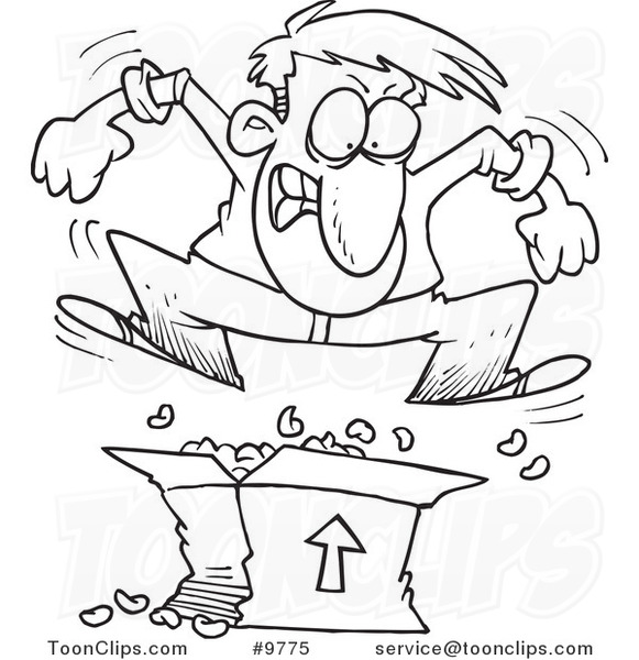 581x600 Cartoon Black And White Line Drawing Of A Guy Jumping On Packing