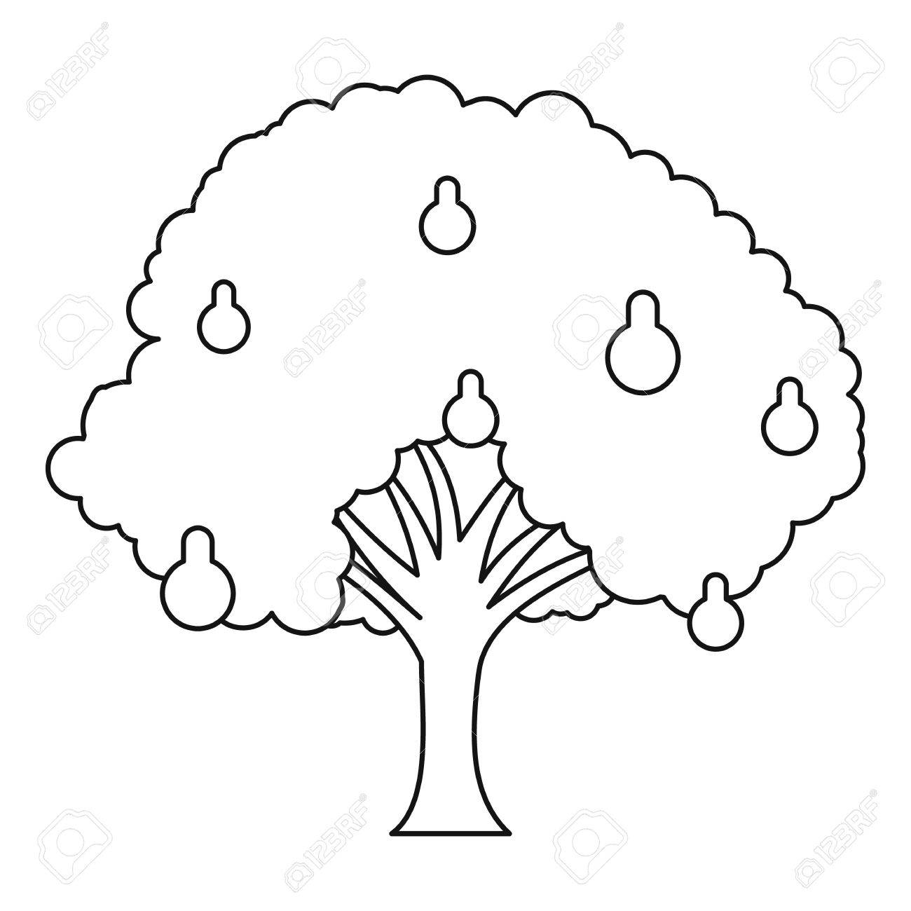 1300x1300 Pear Tree Icon. Outline Illustration Of Pear Tree Vector Icon