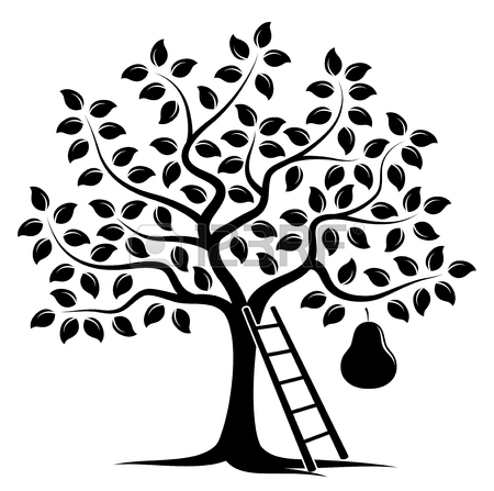 450x447 Vector Pear Tree With One Big Pear And Ladder Isolated On White
