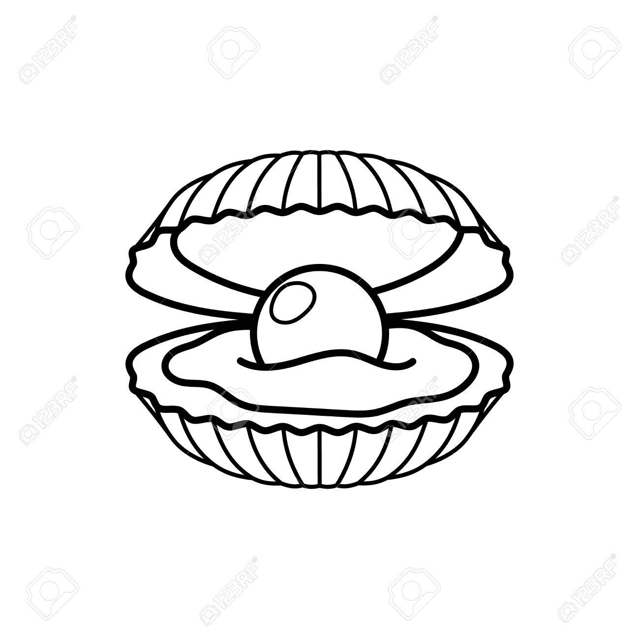 1299x1300 Black Pearl In Shell Line Gift Icon. Vector Illustration Royalty