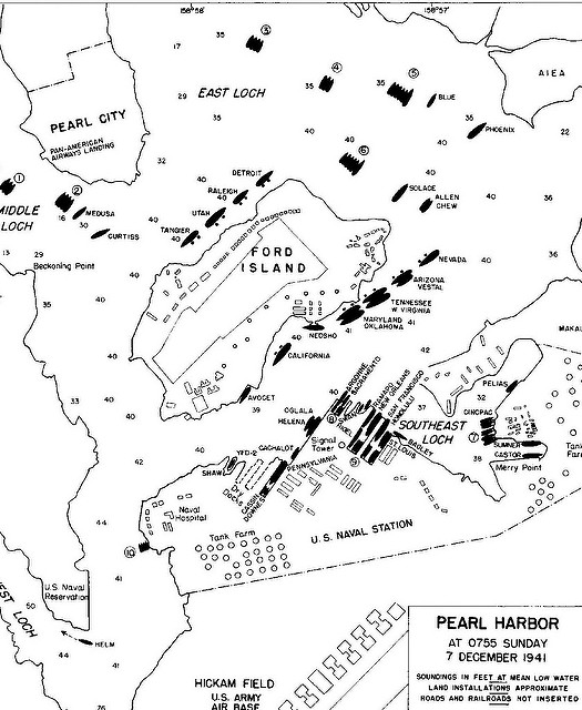 525x640 Pearl Harbor Map On 7 December 1941 Pearl Harbor Warbirds