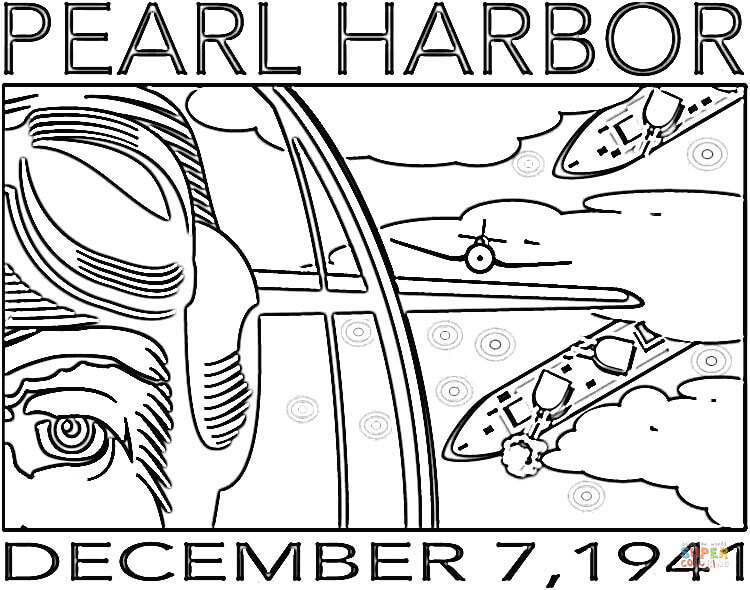 750x590 Beginning Of Wwii For Usa (Pearl Harbor) Coloring Page Free