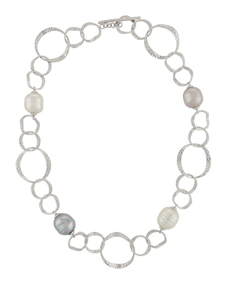 456x570 Majorica Hammered Oval Link Baroque Pearl Necklace