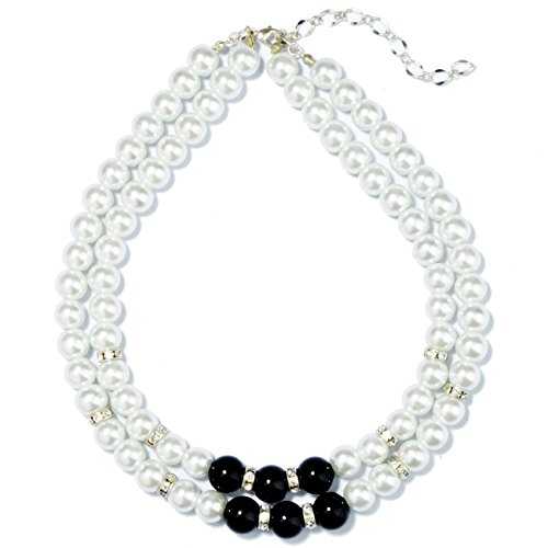 500x500 Ts Simple Double Black And White Pearl Necklace (Necklace