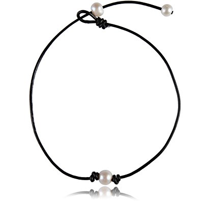 395x395 Single White Big Pearl Choker Necklace Adjustable Bead