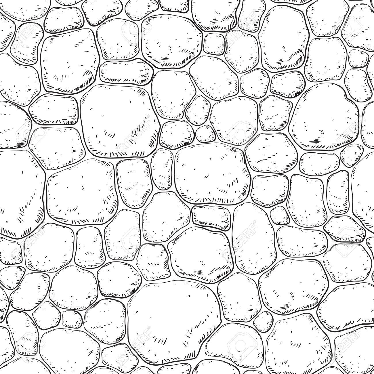 1300x1300 Seamless Pattern With Stones. Vector Background With Pebble
