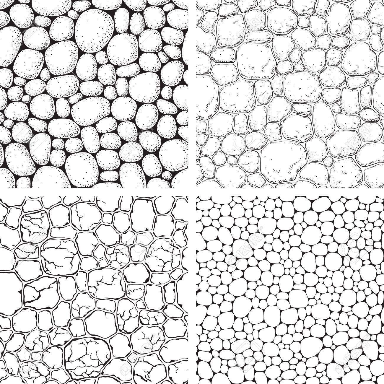 1300x1300 Seamless Pattern Stones. Vector Set Of Backgrounds