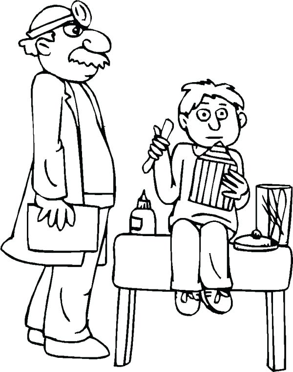 600x761 Doctor Coloring Page Doctor Pediatrician And Patient In Doctor