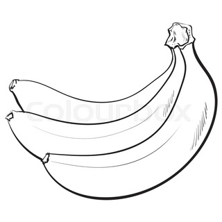 320x320 Sliced, Peeled, Singl And Bunch Of Three Ripe Banana, Sketch Style
