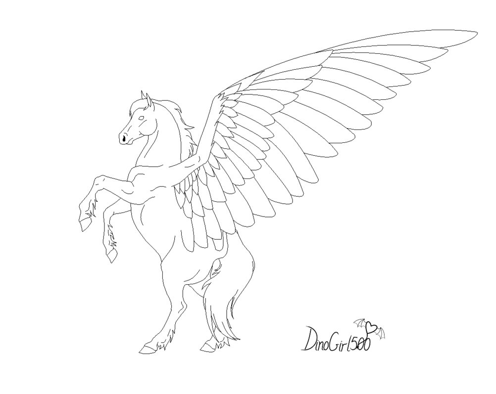 1002x797 Pegasus Line Art By Dinogirl500