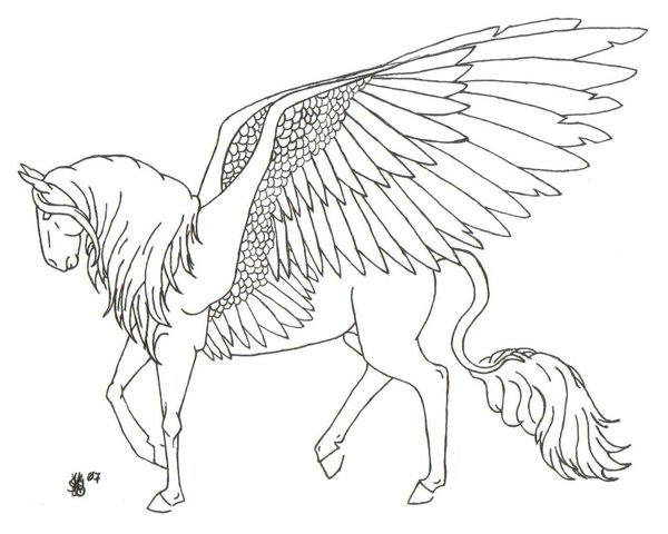 600x480 Pegasus Lineart By Equinelineart
