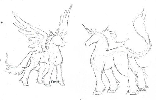 502x322 Pegasus And Unicorn Sketch By Whitegryphon