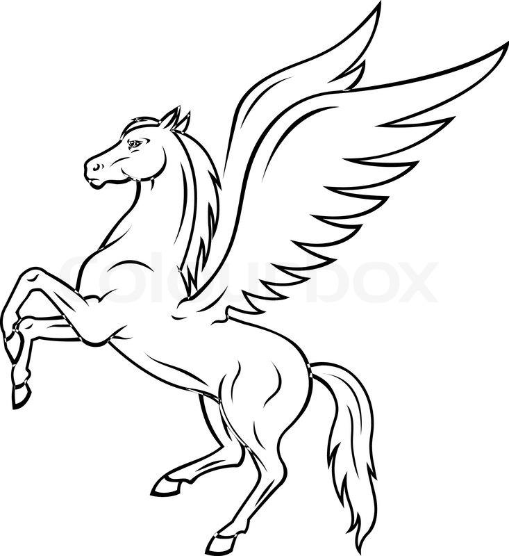 733x800 Pegasus Outline Pegasus Stock Photo
