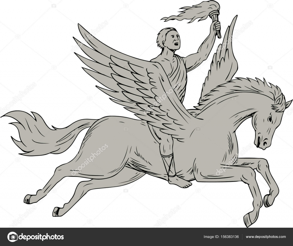 1024x859 Bellerophon Riding Pegasus Holding Torch Drawing Stock Vector