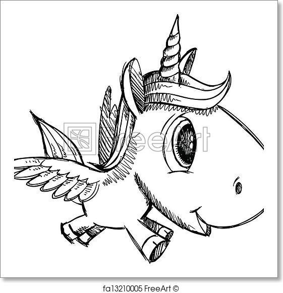 561x581 Free Art Print Of Sketch Doodle Unicorn Pegasus Sketch Doodle