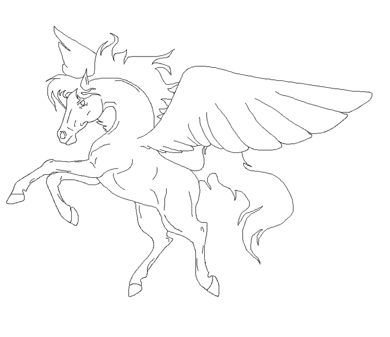 800x692 Flying Pegasus Lineart By 3naito3