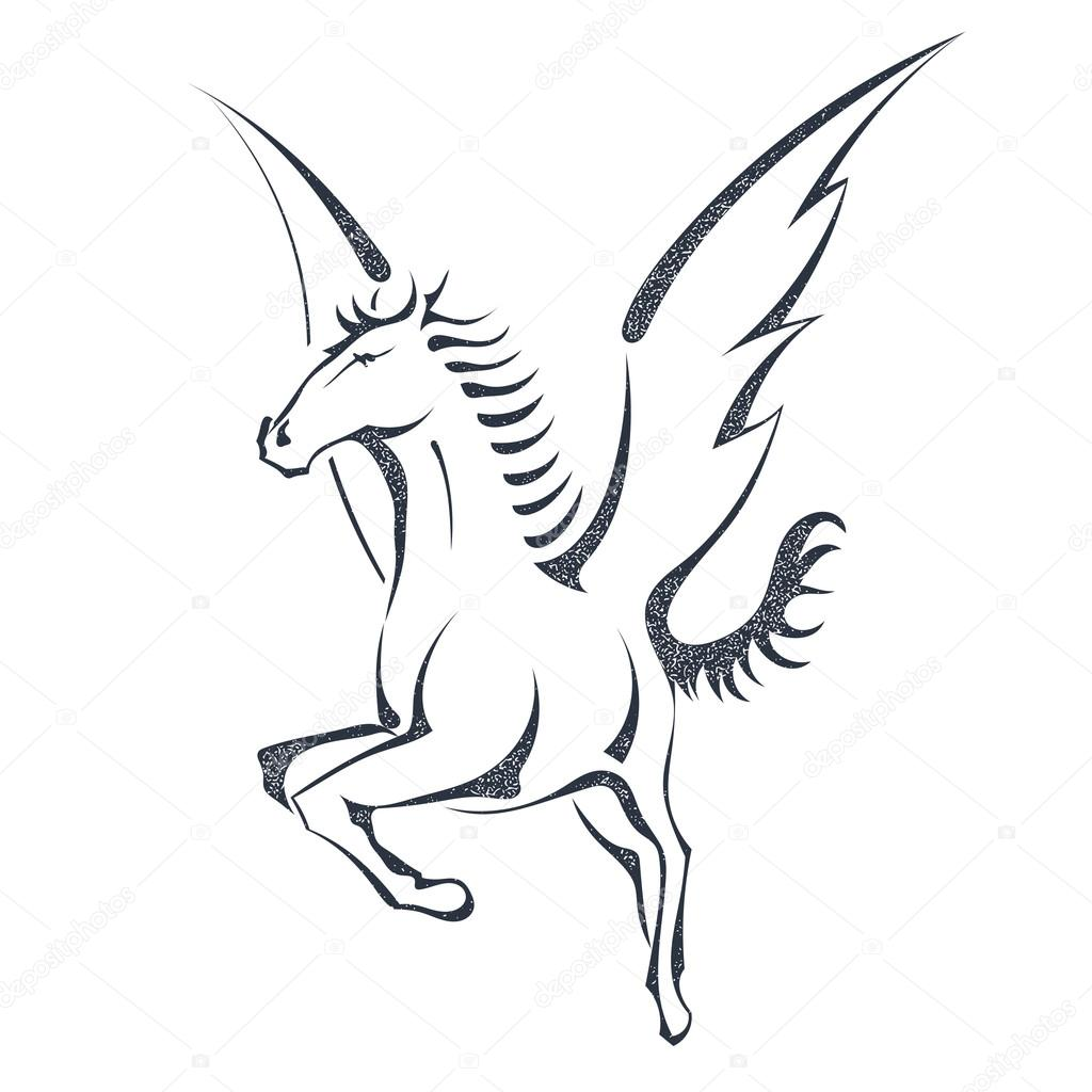 1024x1024 Grunge Sketch Of A Flying Pegasus, Isolated On White Background