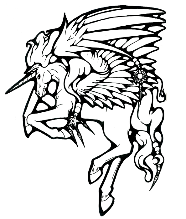 594x700 Mystical Pegasus Tattoo By Bishounenhunter