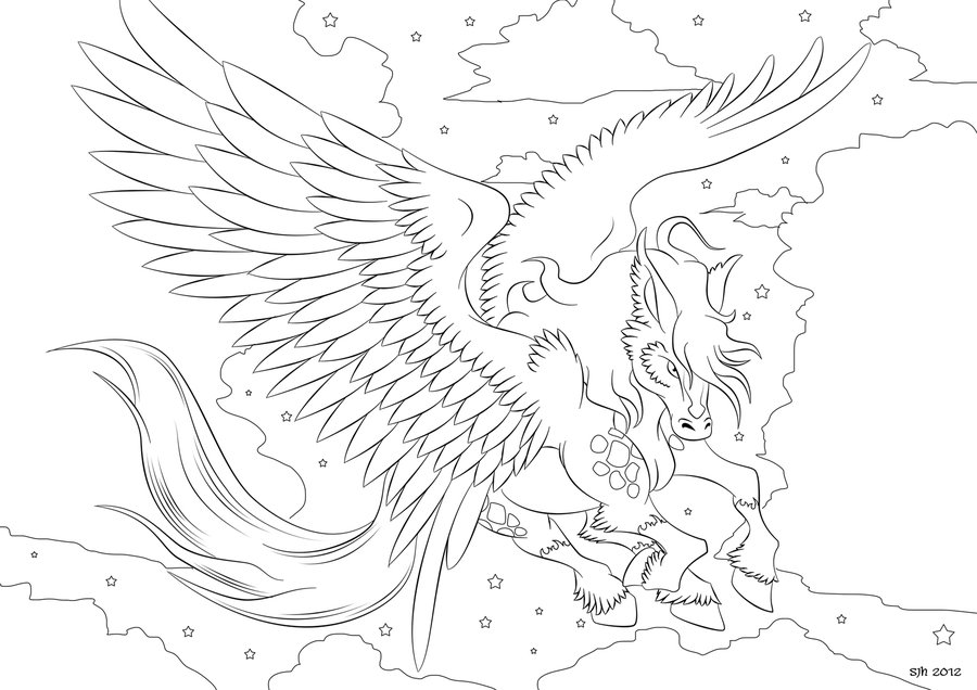 900x636 Pegasus Coloring In Page 4 By Darkly Shaded Shadow