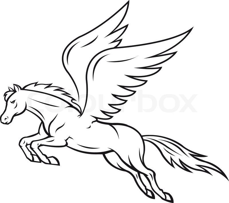 800x709 Pegasus Horse Stock Vector Colourbox