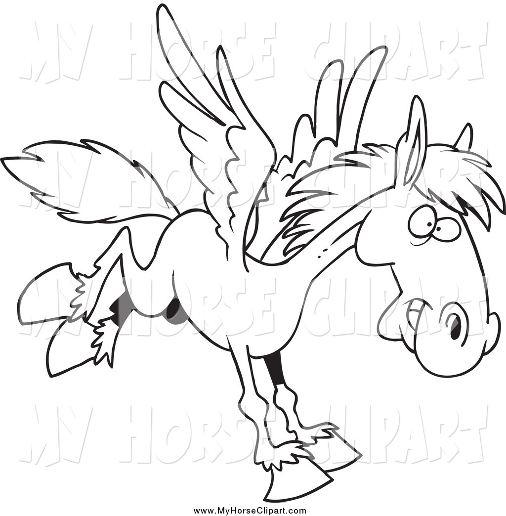 1024x1044 Clip Art Of A Black And White Pegasus Winged Horse Flying By