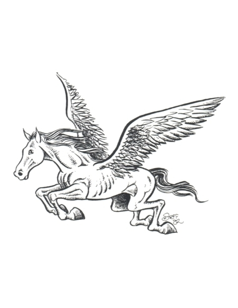 480x622 Simple Flying Pegasus Tattoo Drawing