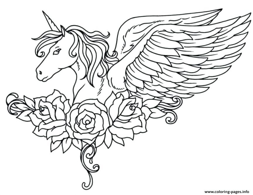 863x666 Unicorn Coloring Pages Pegasus Cute Baby Unicorns Free Pictures