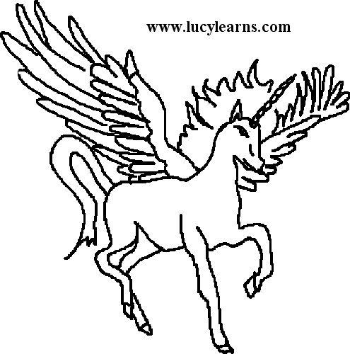 495x500 Drawn Unicorn Winged