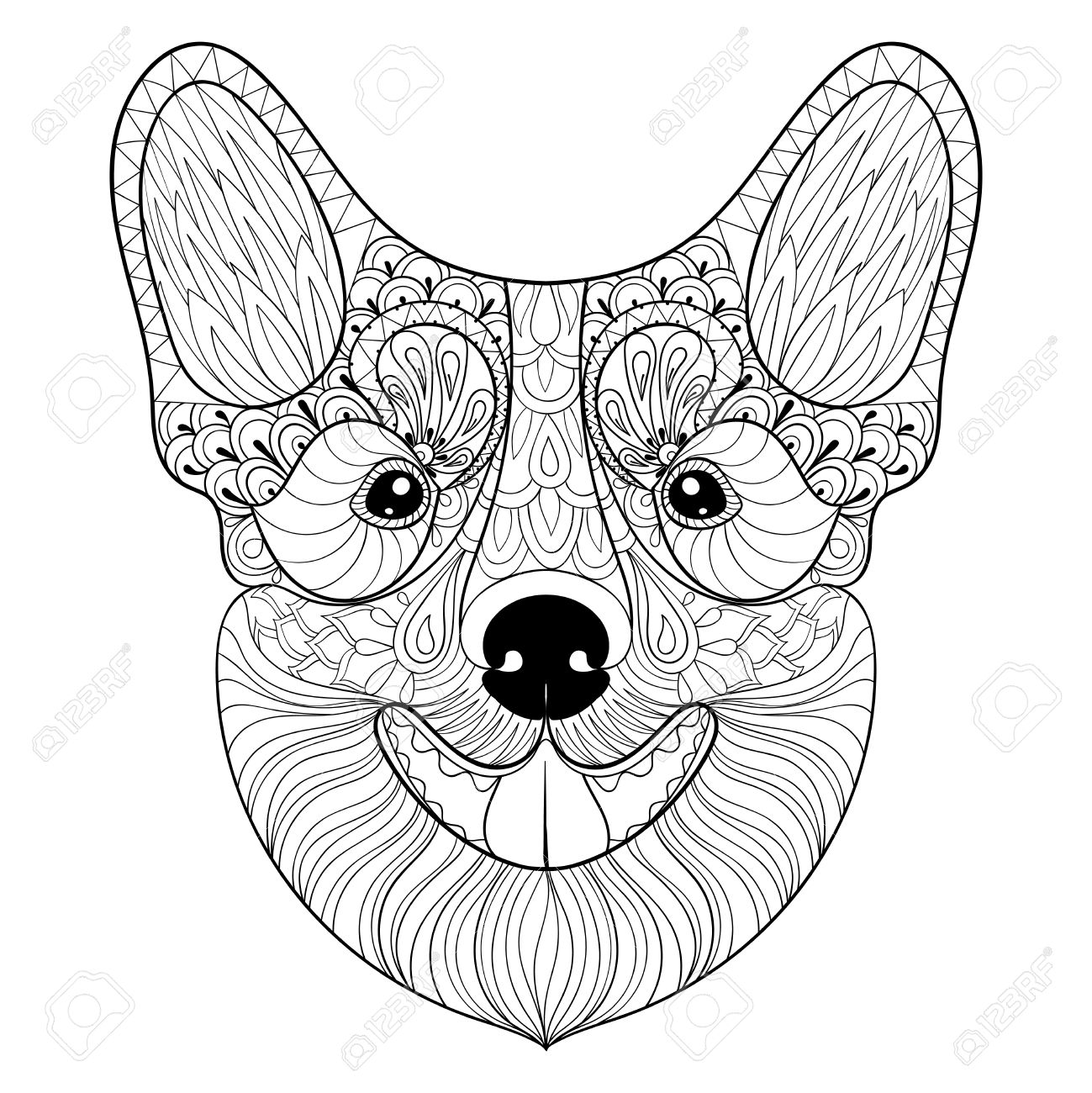 1299x1300 Dog Face In Monochrome Doodle Style. Puppy, Pembroke Welsh Corgi
