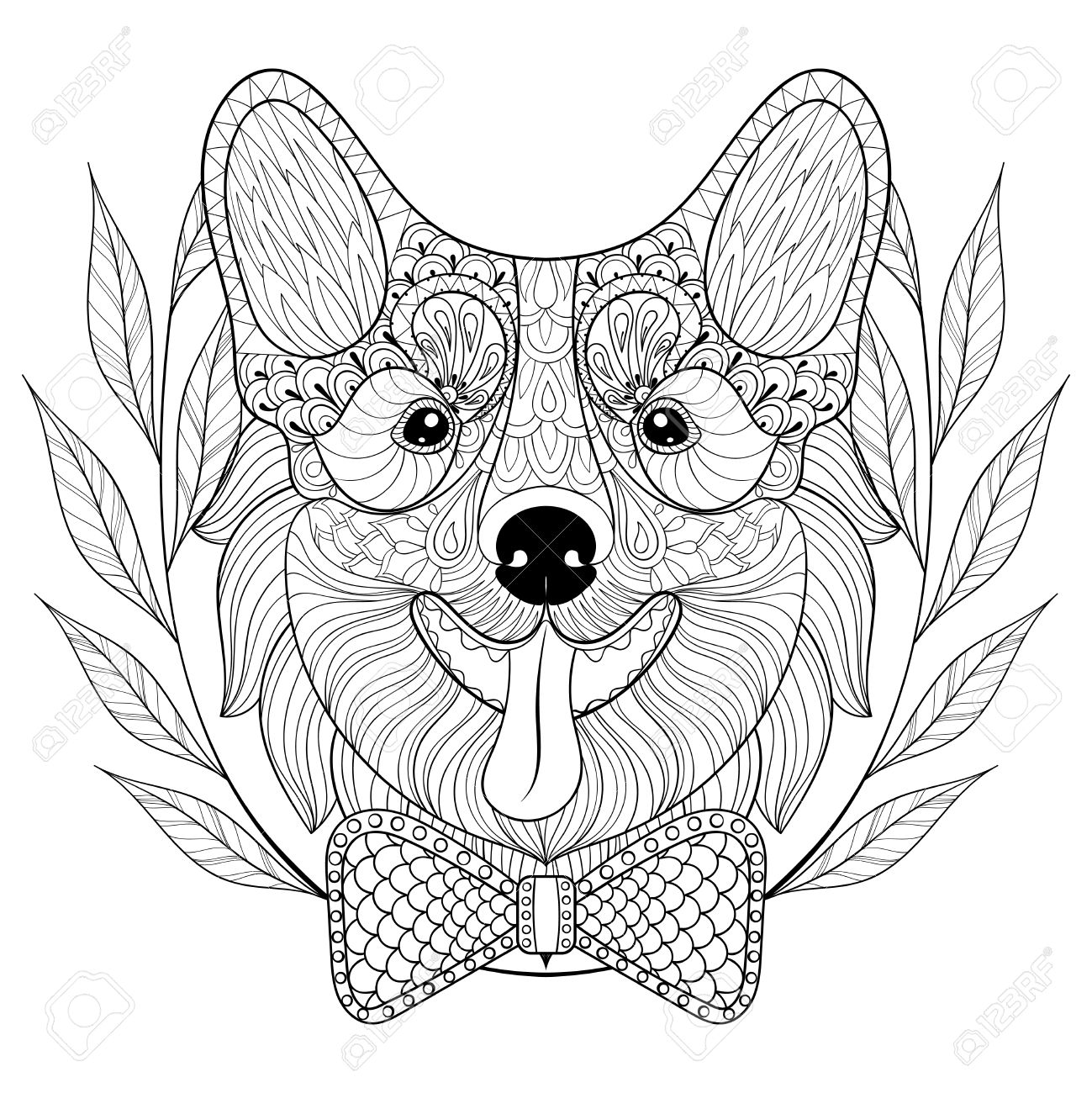 1299x1300 Welsh Corgi With Bow Tie, Wreath Frame. Happy Puppy, Pembroke