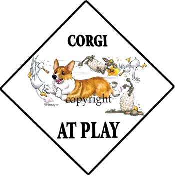 350x352 Corgi Pembroke At Play Sign 1