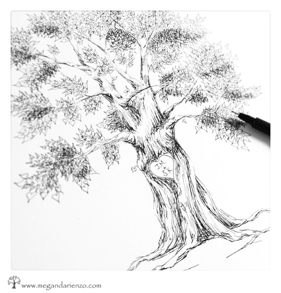 570x594 Personalized Heart Tree Drawing, Custom Initial Tree Pen And Ink