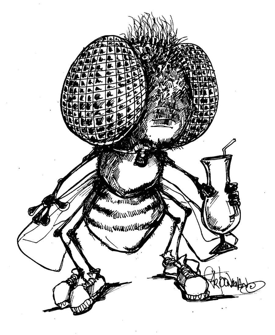 900x1097 Pen And Ink Cartoon Drawing Barfly Pen N Ink By Sketchoo