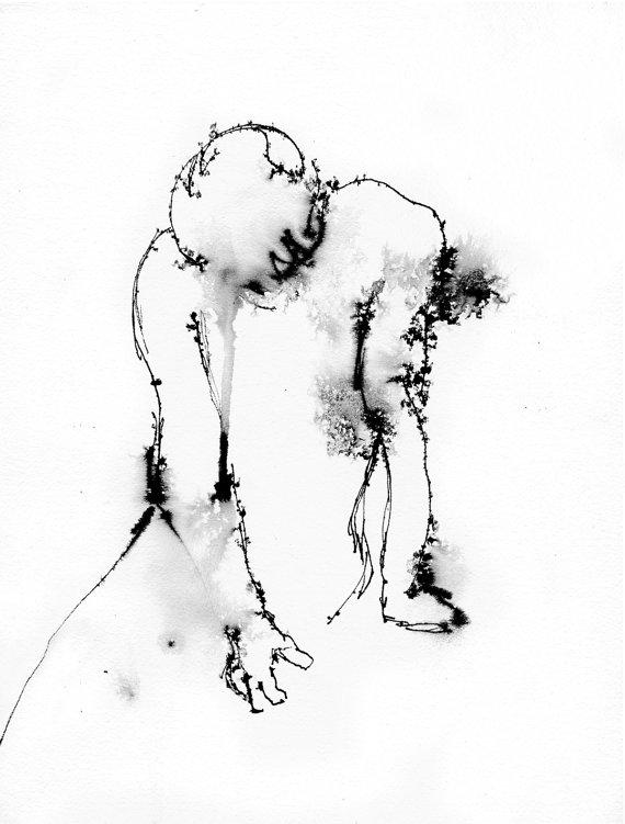 570x751 Art Pen And Ink Drawing Illustration Figure Despair Print