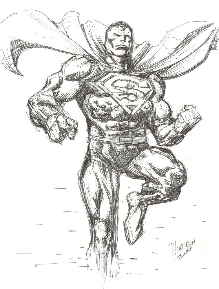 756x1000 Superman Pen Drawing By Dogsoldierr