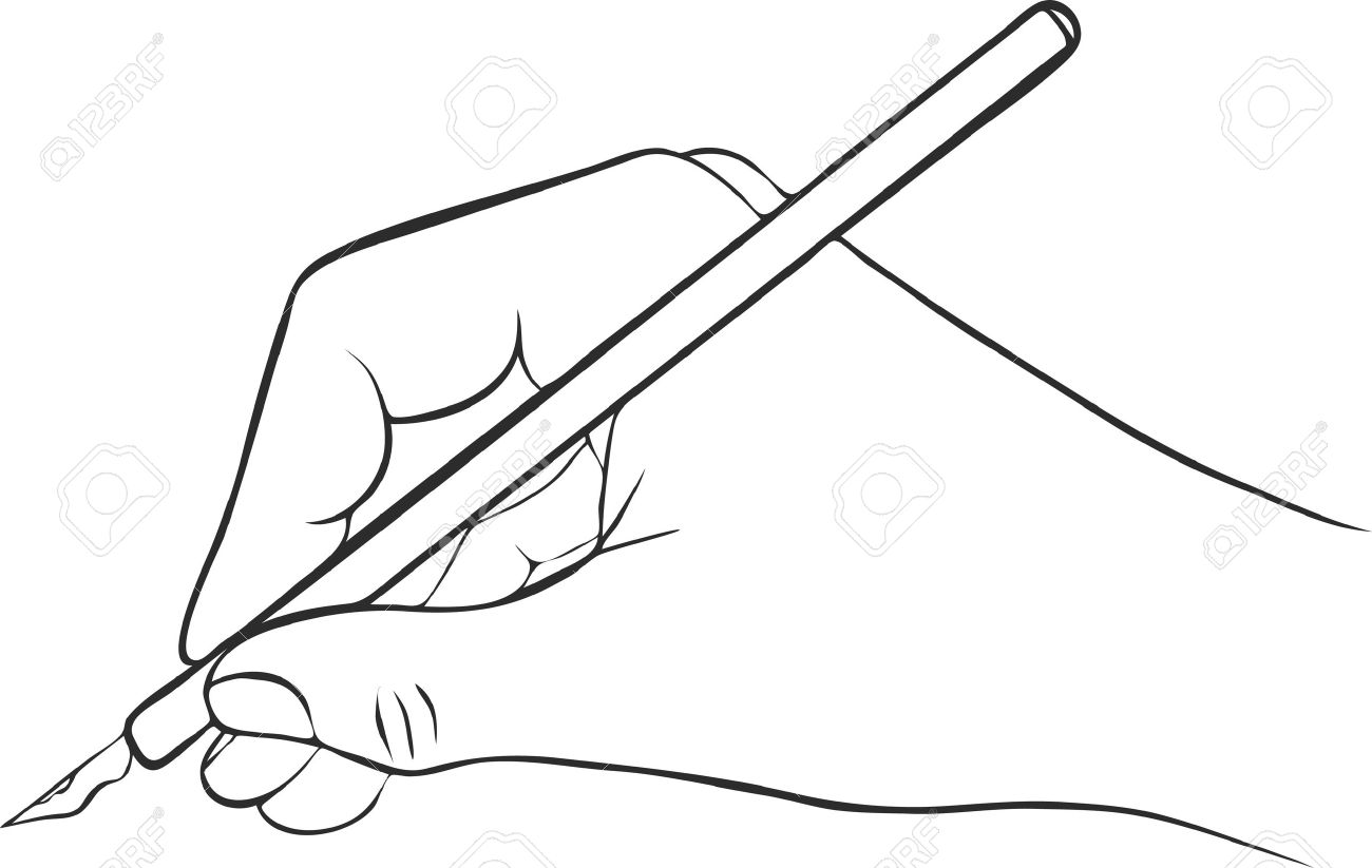 1300x823 Writing Hand With Ink Pen, Drawing Right Hand, Hand Drawn Vector