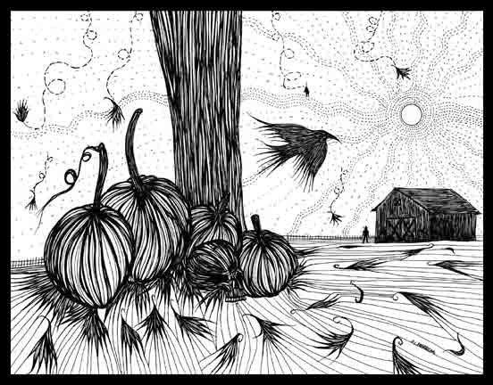 552x432 Items Similar To Pen Ink Black White Drawing Pumpkins Autumn