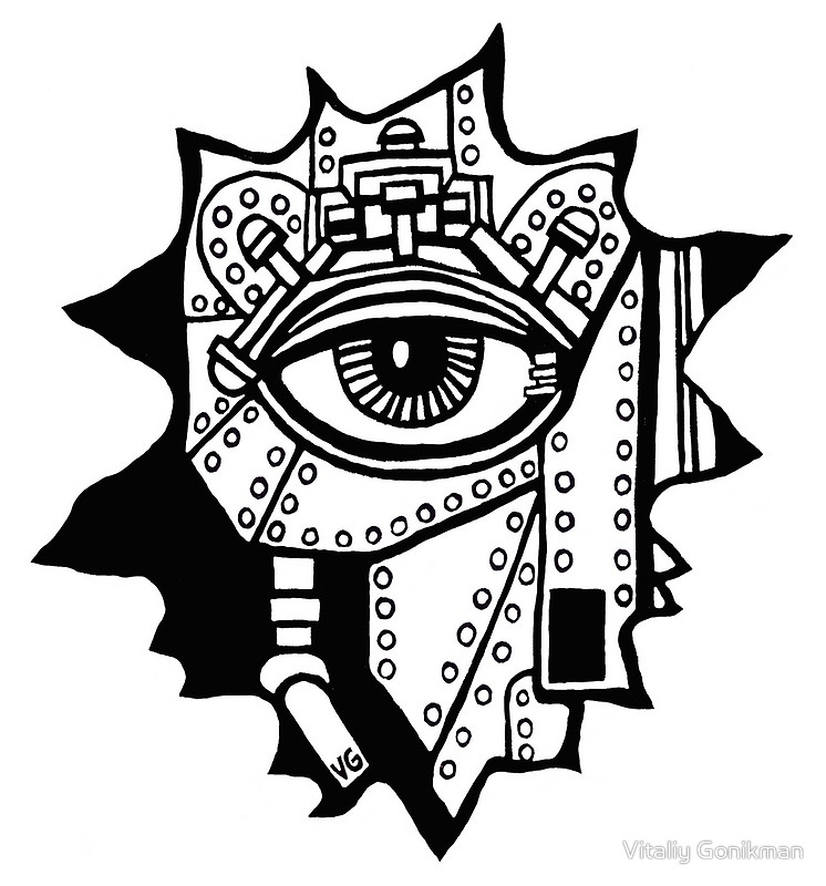 746x800 Surreal Cyborg Black And White Pen Ink Drawing Posters By Vitaliy